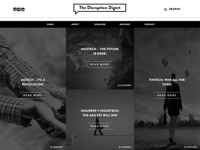Blog Website Design | The Disruption Digest